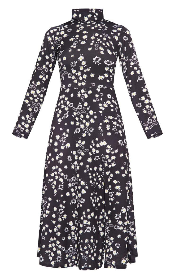 Black Floral Print Long Sleeve Midi Dress 5