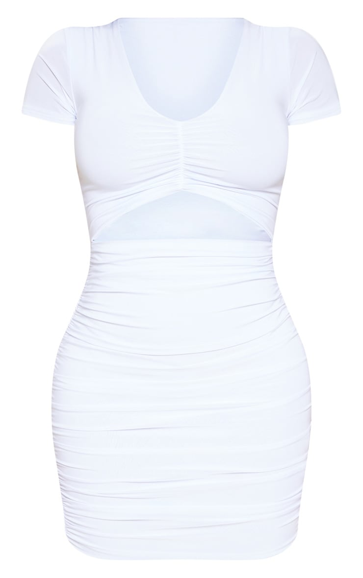 Shape White Ruched Front Cut Out Bodycon Dress 3