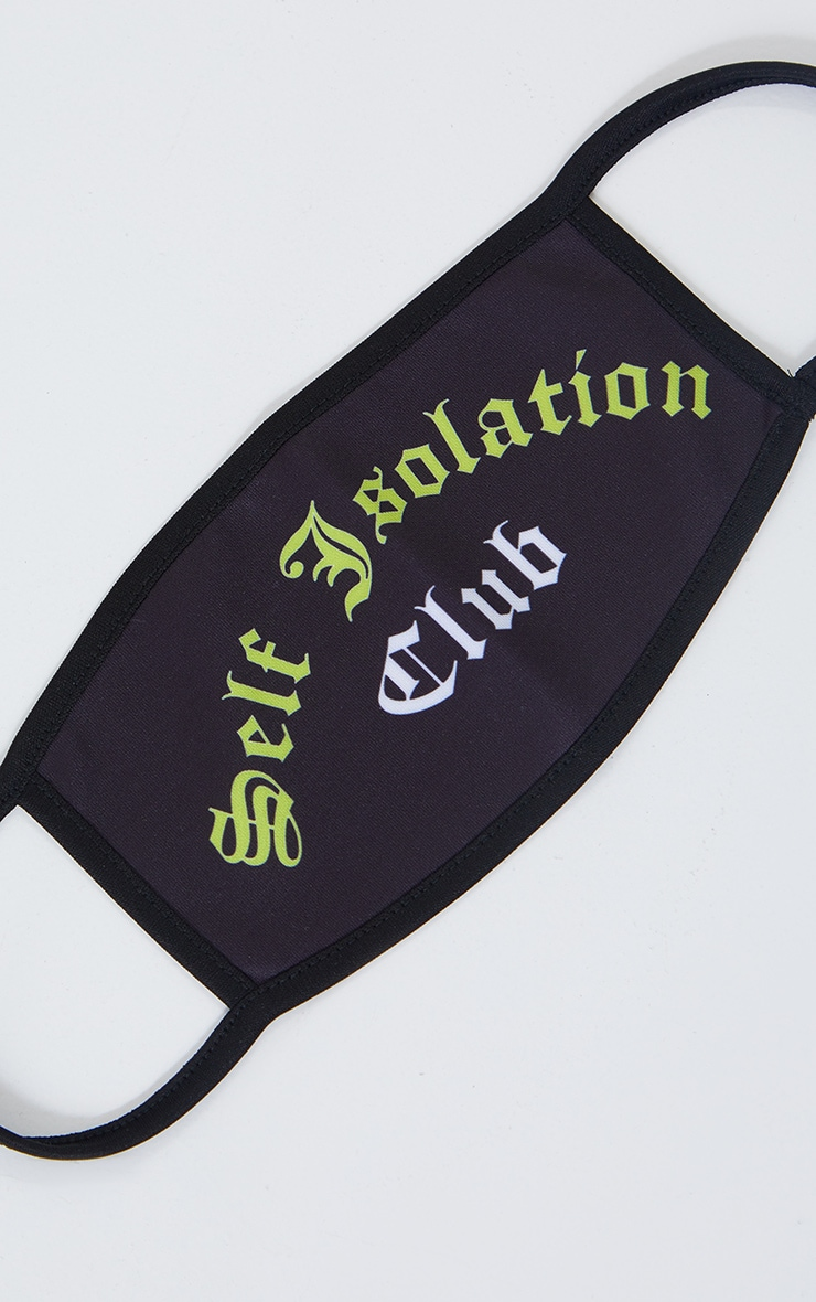 Self Isolation Club Black Fashion Mask 2