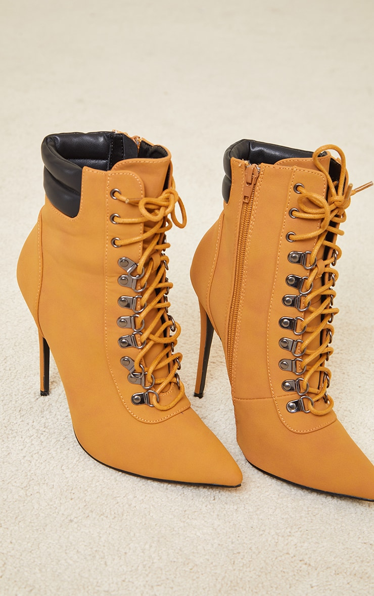 Tan Hiker Lace Up Stiletto Heels Boot 3