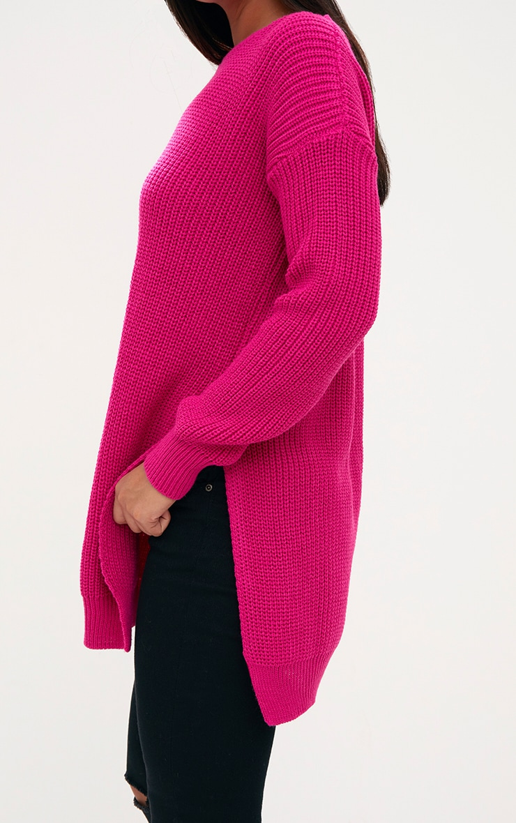 Pink Round Neck Side Split Jumper 5