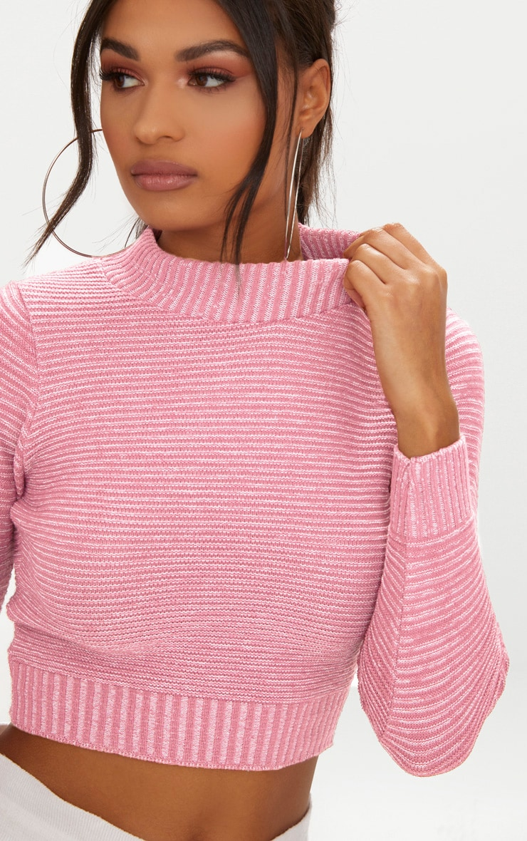 a3861f8f44f75b Rose Ribbed Cropped Knitted Sweater image 5
