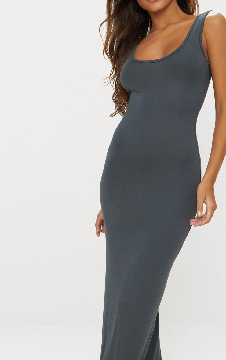 Charcoal Grey Basic Maxi Dress 4