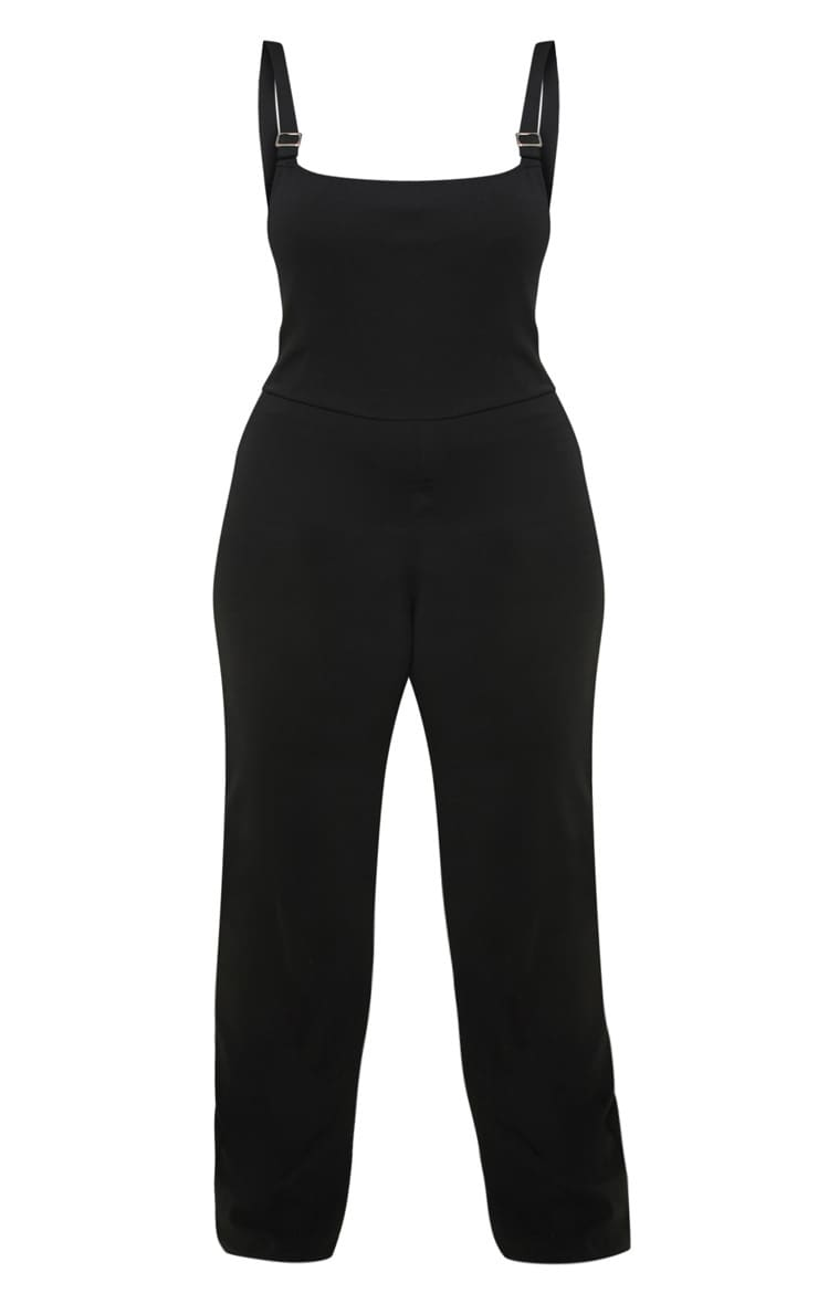 Plus Black Buckle Detail Wide Leg Jumpsuit 3
