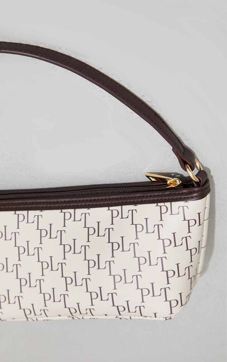 PRETTYLITTLETHING Cream Monogram Shoulder Bag 3