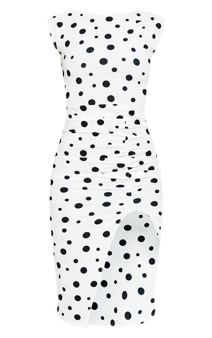 White Polka Dot Draped Ruched Skirt Midi Dress 5