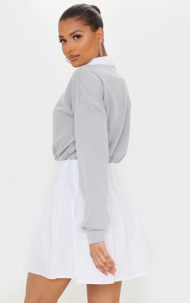 Grey Sweat Contrast Poplin Skater Skirt Sweatshirt Dress 2