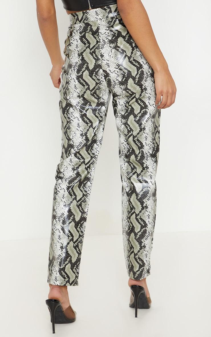 Black Faux Leather Snake Print Slim Leg Trouser  4