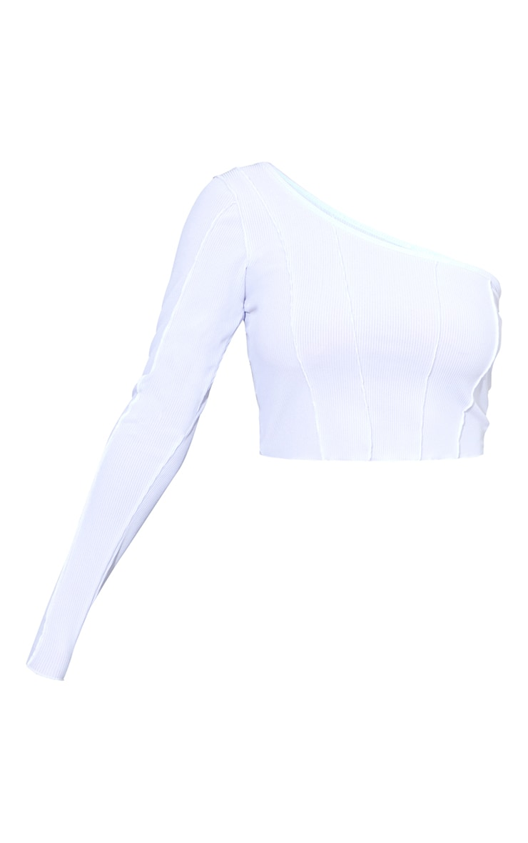 White Rib Overlock Seam Detail One Shoulder Crop Top 5