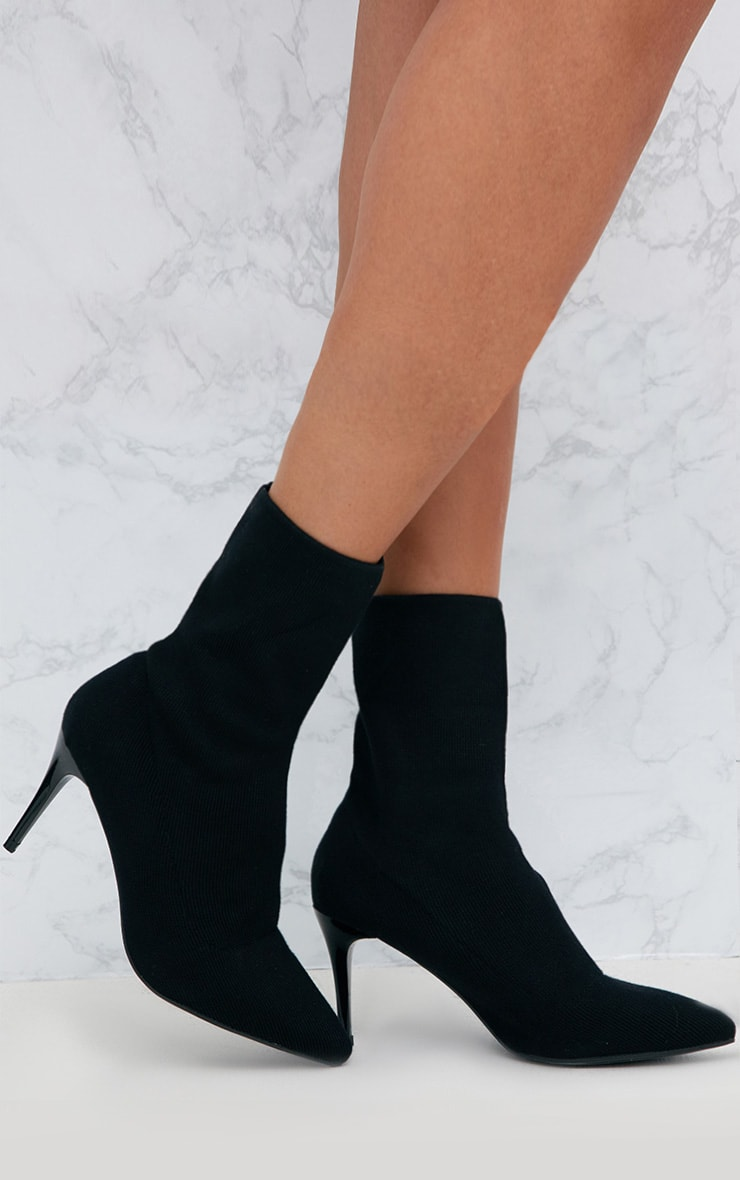 Black Mid Heel Ankle Sock Boot 1