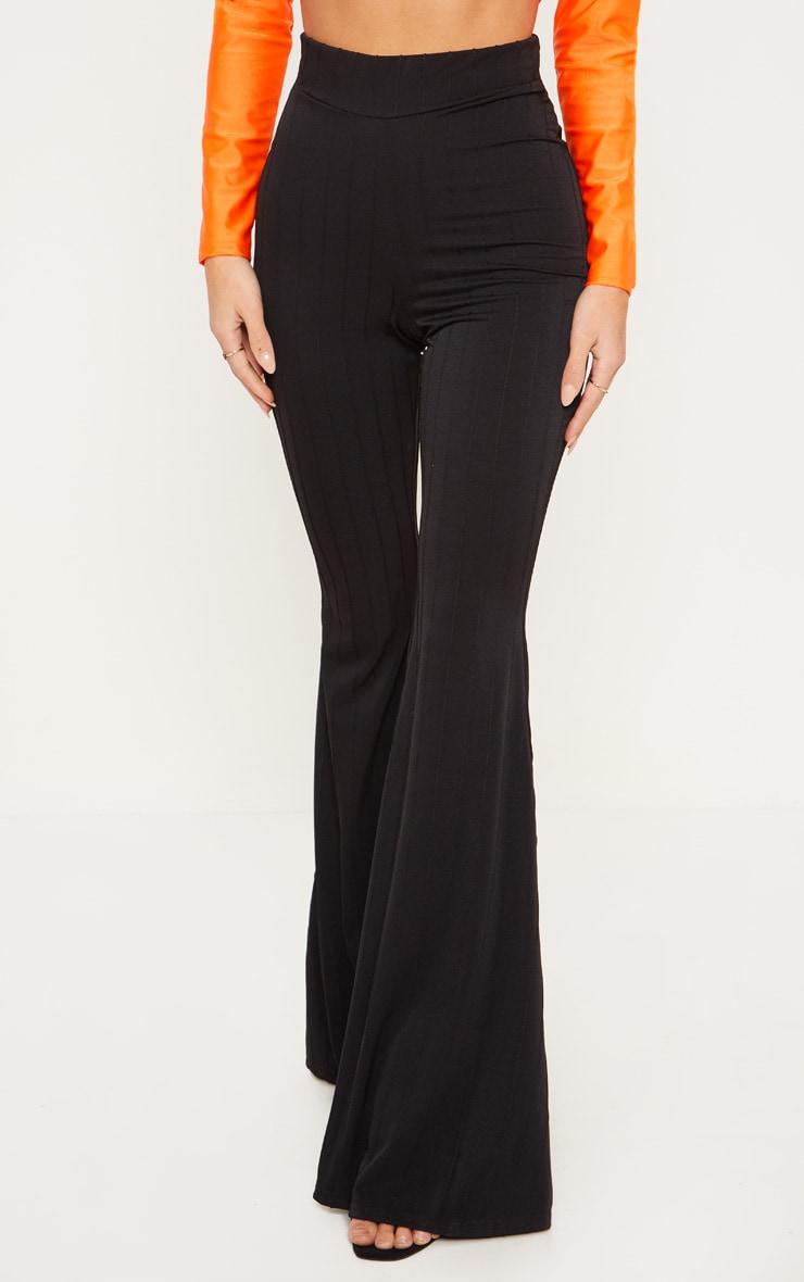 Black Jersey Rib Extreme Flare Trouser 2