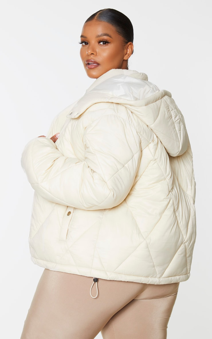 Plus Stone Nylon Diamond Quilted Hooded Puffer Jacket 2
