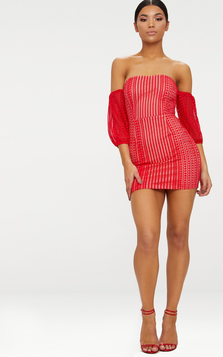 Red Crochet Bardot Balloon Sleeve Bodycon Dress 1