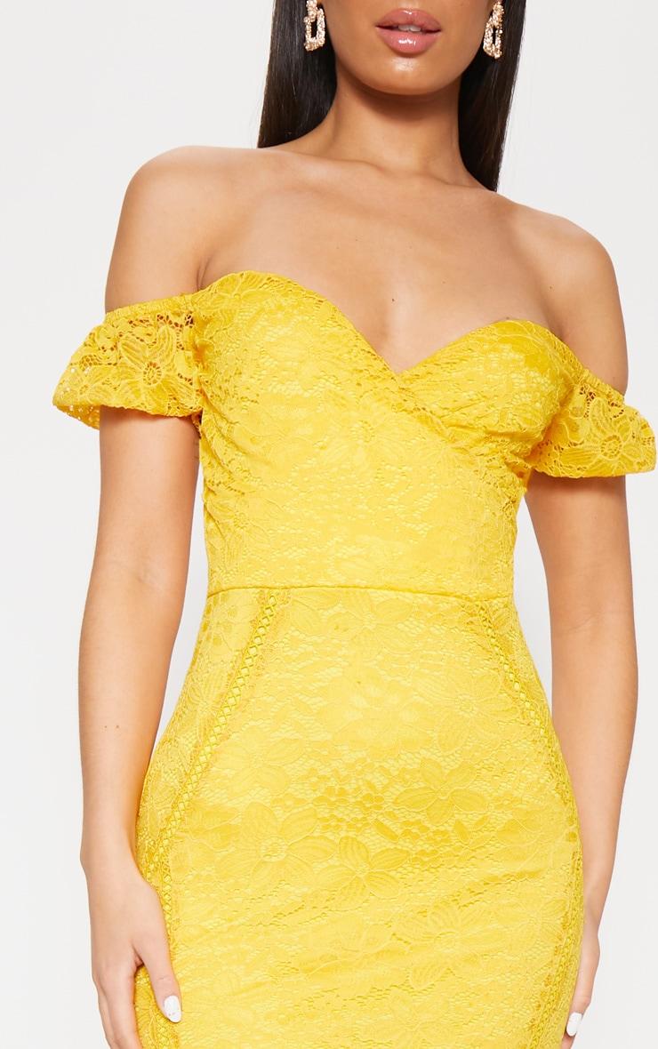 Mustard Lace Bardot Wrap Midi Dress 5
