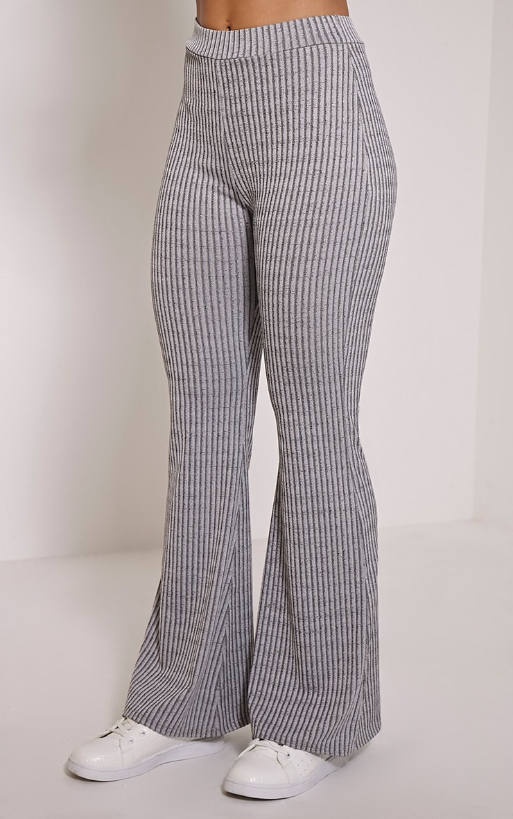Anna Grey Ribbed Flared Trousers 3