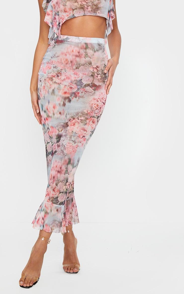 Pink Floral Print Mesh Peplum Hem Midaxi Skirt 2