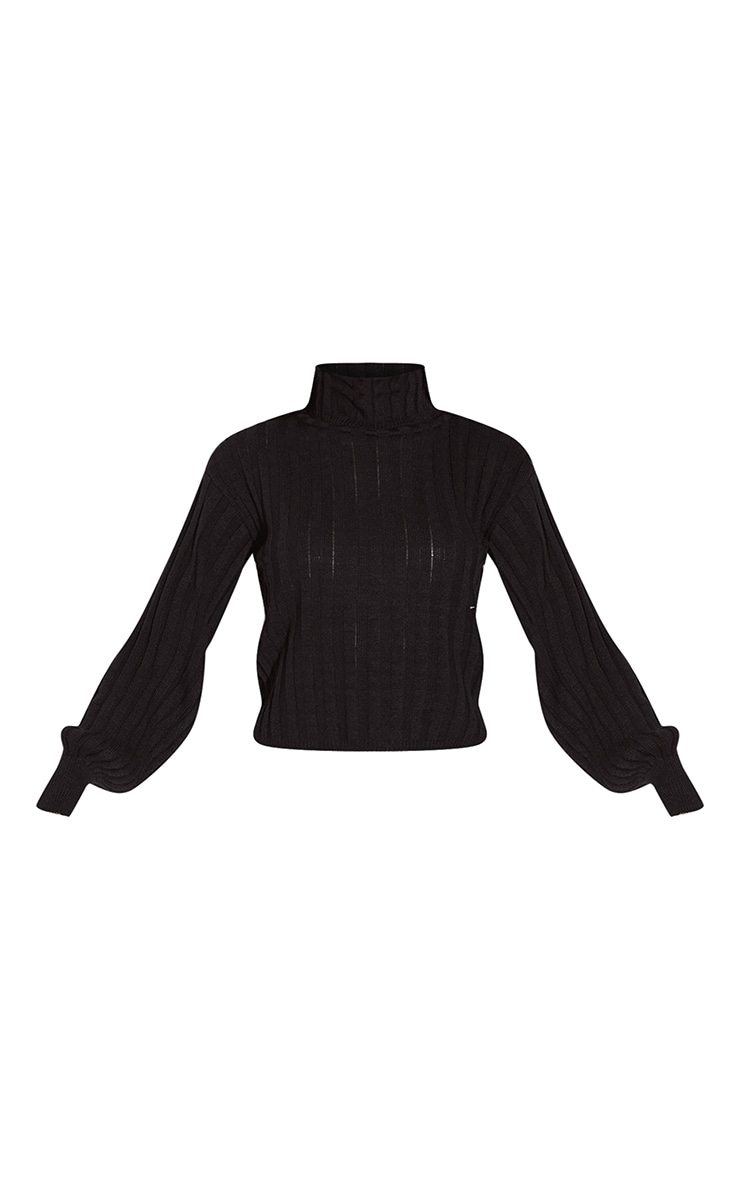 Black Balloon Sleeve Roll Neck Ribbed Jumper 5