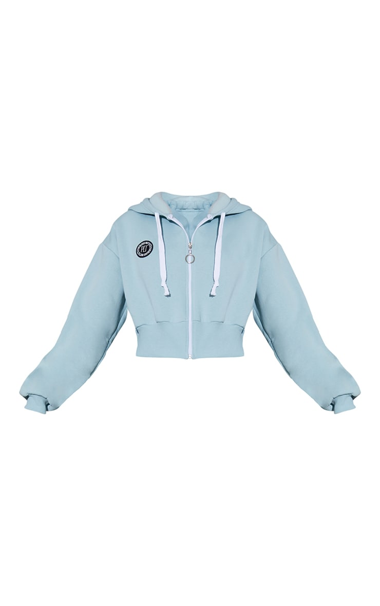 PRETTYLITTLETHING Sage Blue Branded Badge Detail Thick Drawstring Zip Up Cropped Hoodie 5