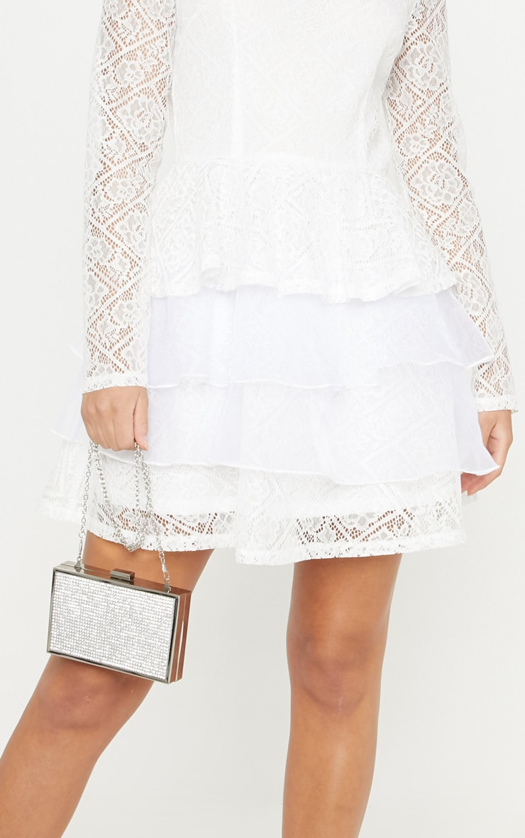 White Lace Long Sleeve Tiered Skater Dress 5