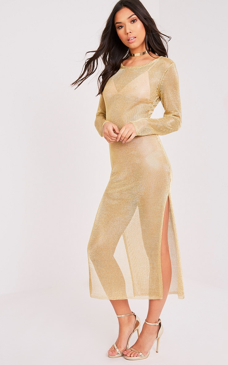 Jacomina Gold Metallic Knitted Midi Dress ...