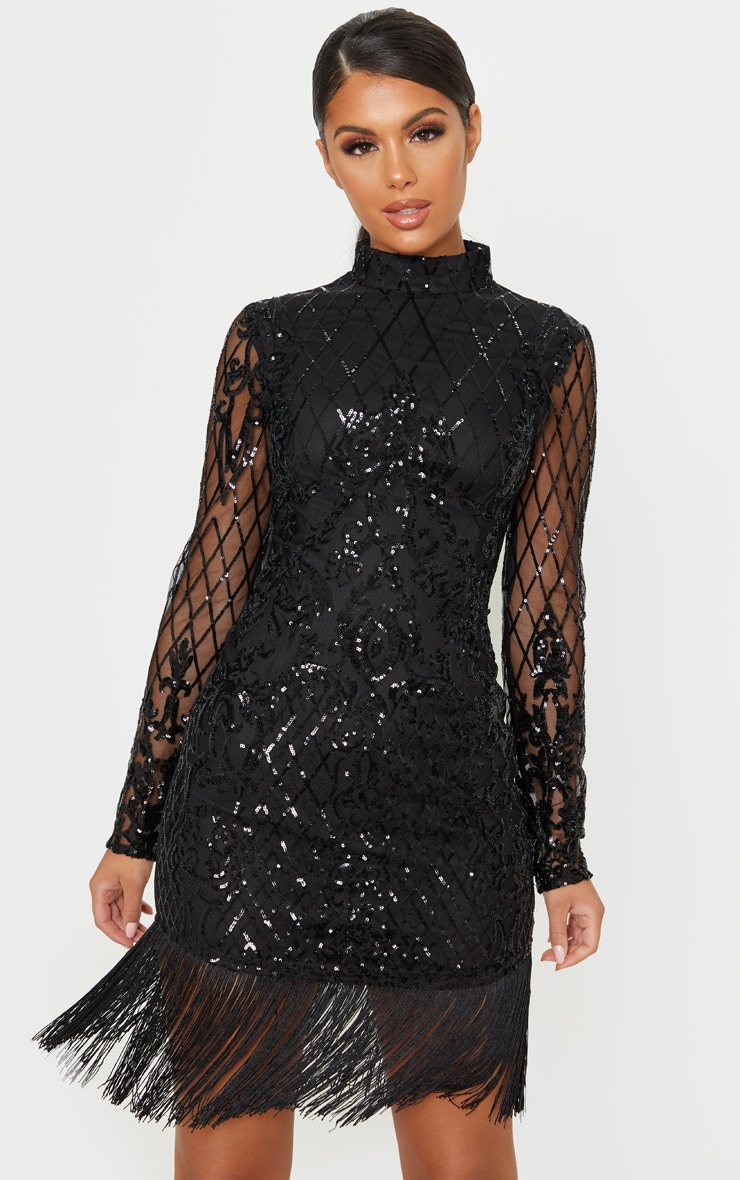 Black Long Sleeve Sequin Tassel Hem Bodycon Dress 1