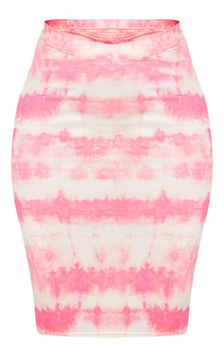 Coral Tie Dye Print Slinky Dip Hem Midi Skirt 5