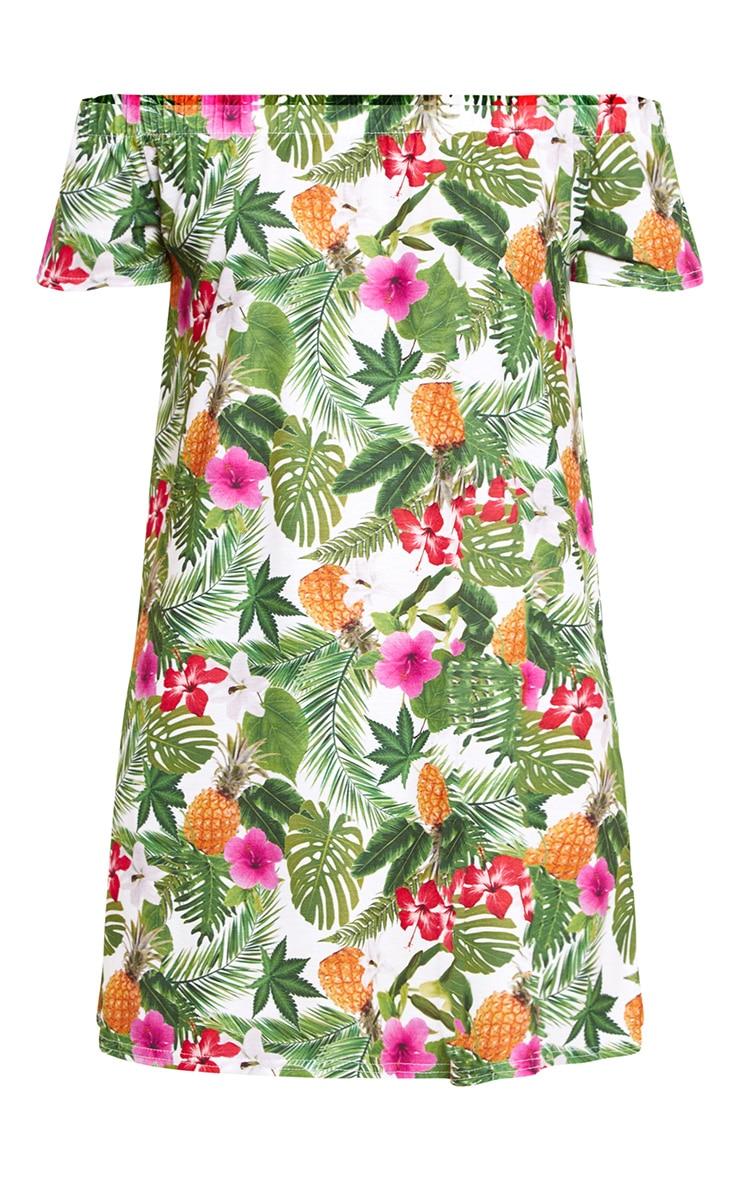 Green Leaf Print Shift Dress 3