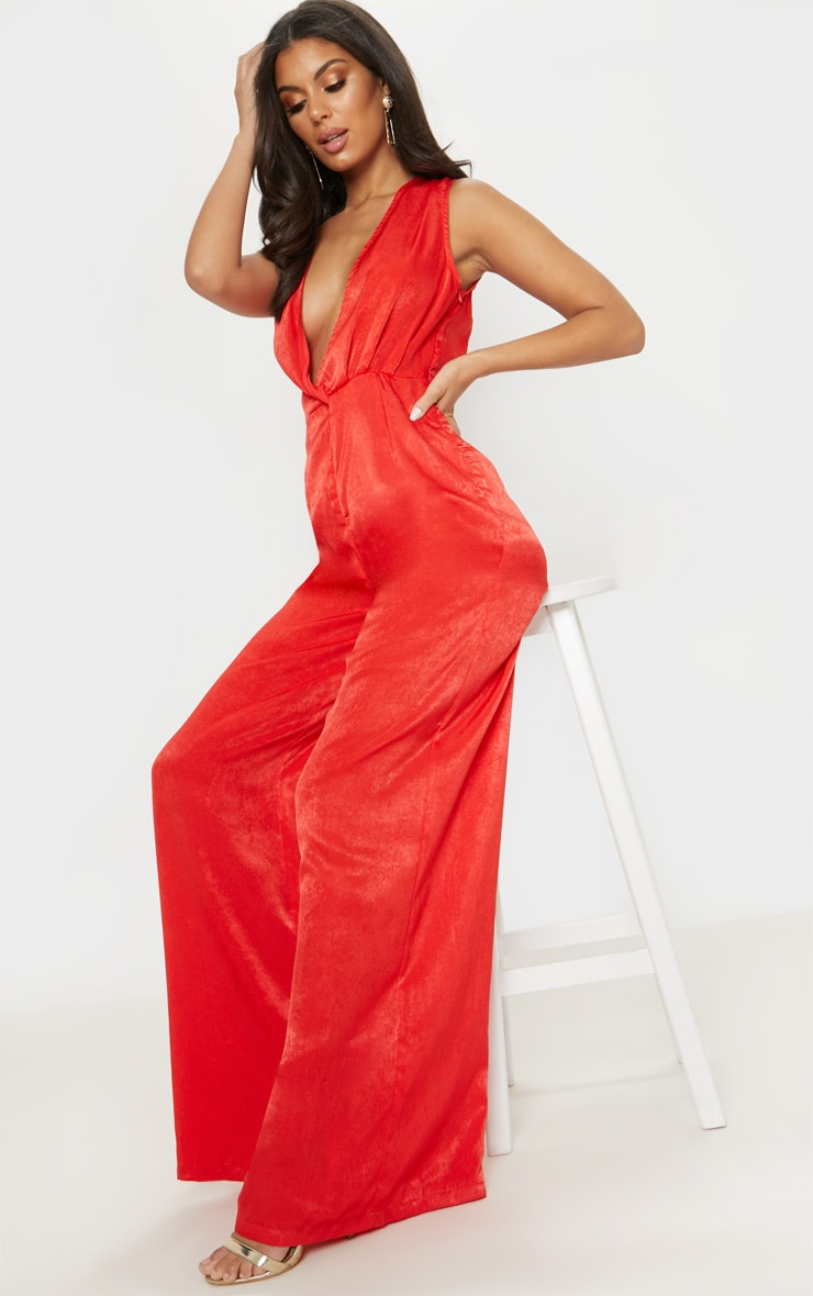 Red Satin Twist Detail Wide Leg Jumpsuit 4