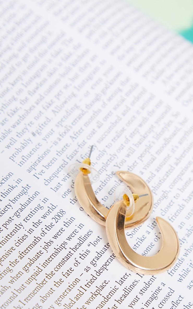 Gold Mini Chunky Twist Hoop Earrings 3