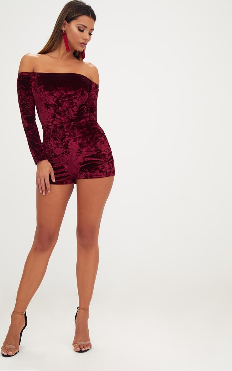 Burgundy Velvet Long Sleeve Bardot Playsuit  4
