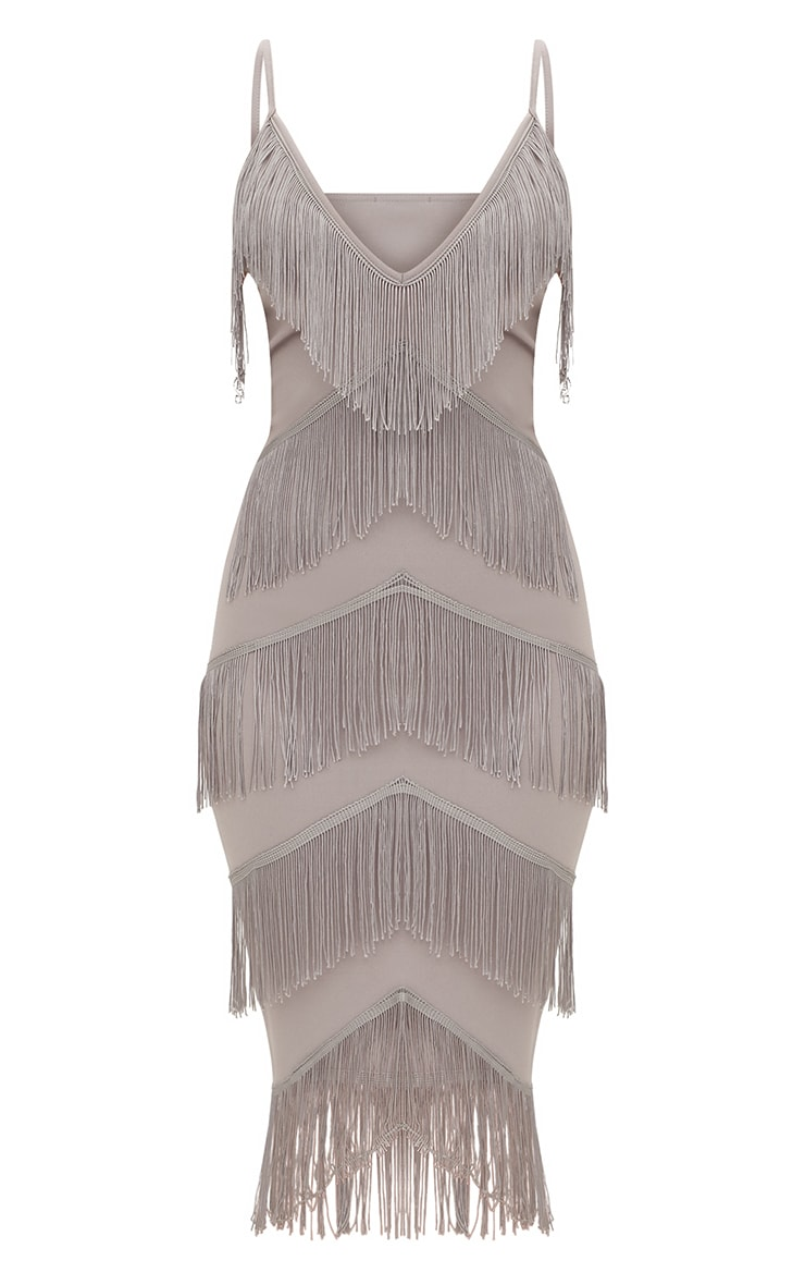 Ice Grey Strappy Tassel Longline Midi Dress 3