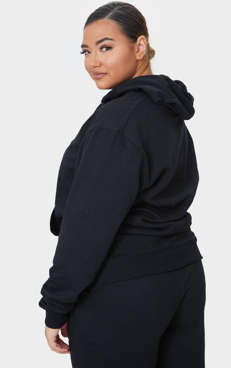 Plus Black Basic Hoodie 2
