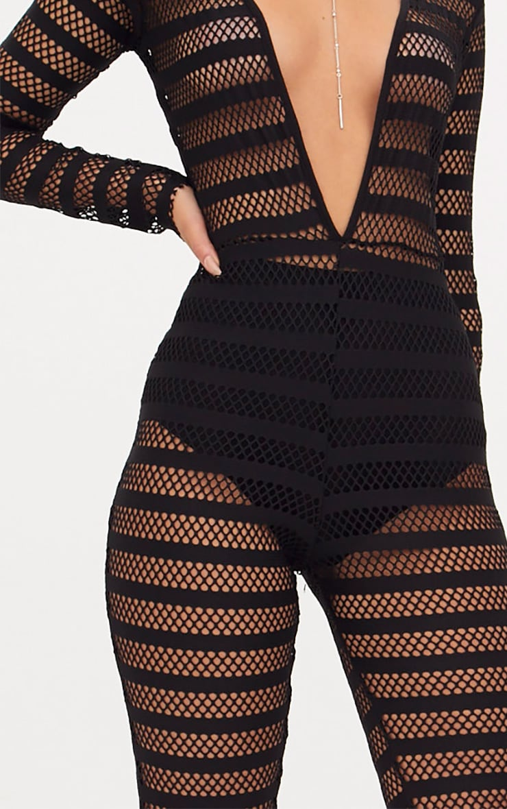 Black Knitted Long Sleeve Plunge Wide Leg Jumpsuit 5