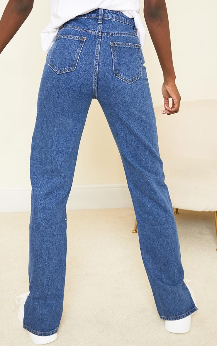 Tall Mid Blue Split Hem Jeans 3