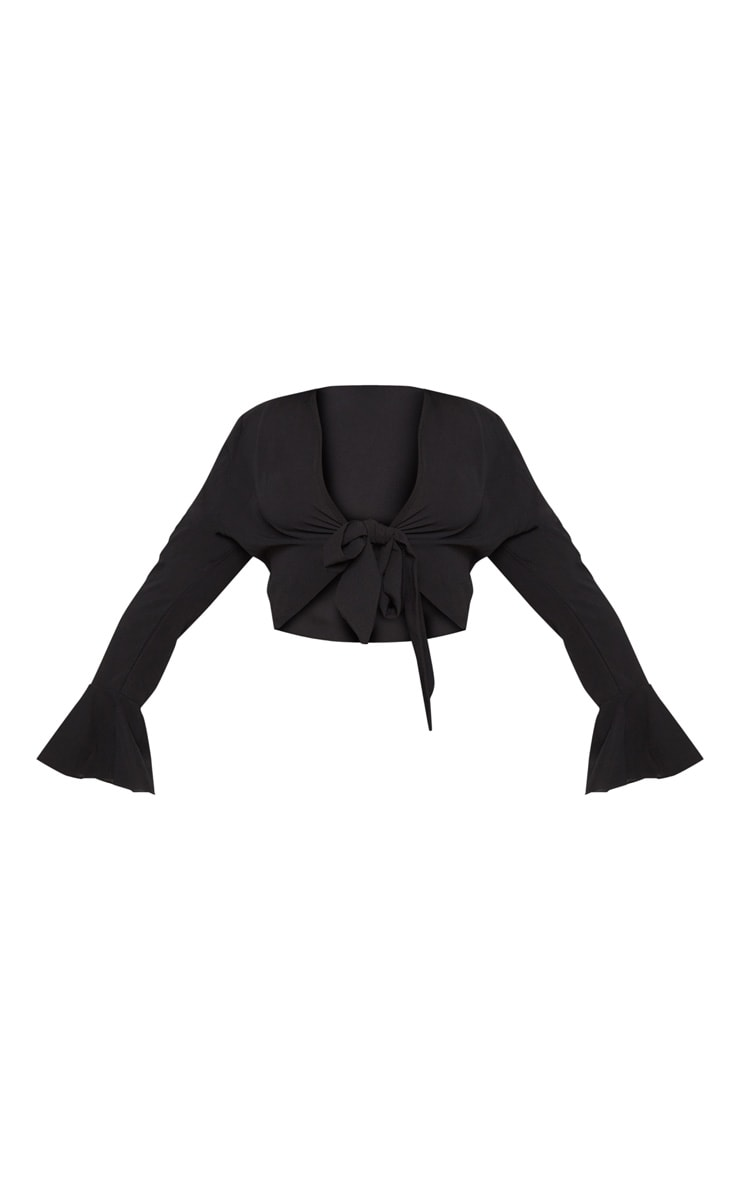 Plus Black Tie Front Frill Sleeve Blouse 3