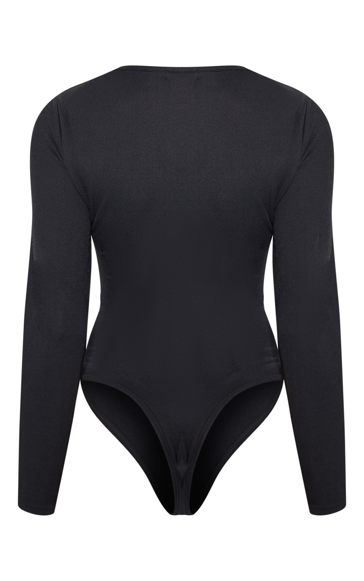 Black Crepe Zip Front Long Sleeve Bodysuit 4