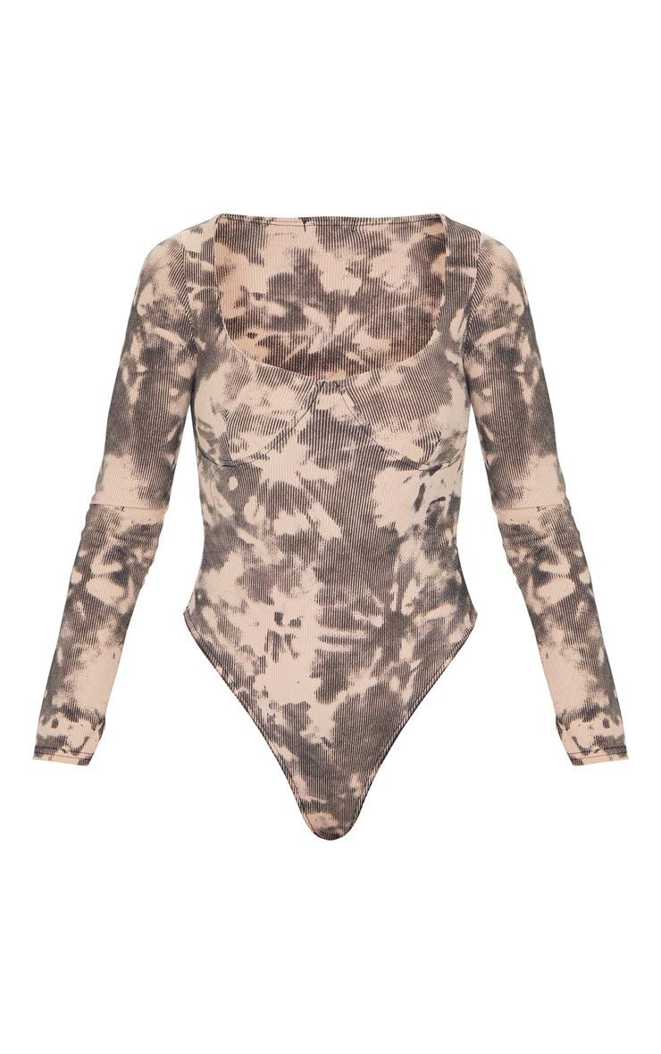 Nude Tie Dye Printed Rib Cup Long Sleeve Bodysuit 5