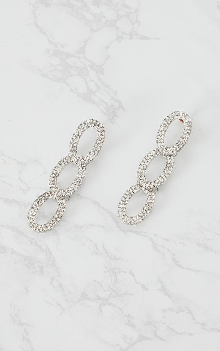 Silver Diamante Loop Drop Earrings 3