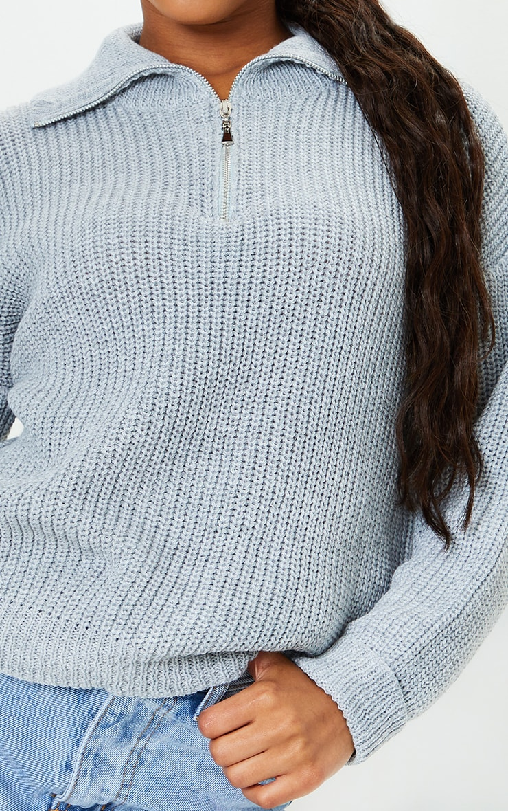 Grey Zip Through Oversized Knitted Sweater 4