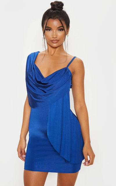 Midnight Blue Metallic Slinky Drape Front Bodycon Dress