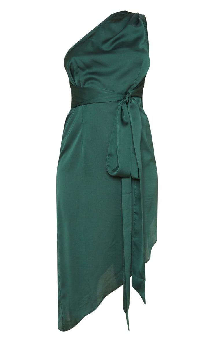 Emerald Green Satin One Shoulder Tie Waist Asymmetric Hem Midi Dress 3