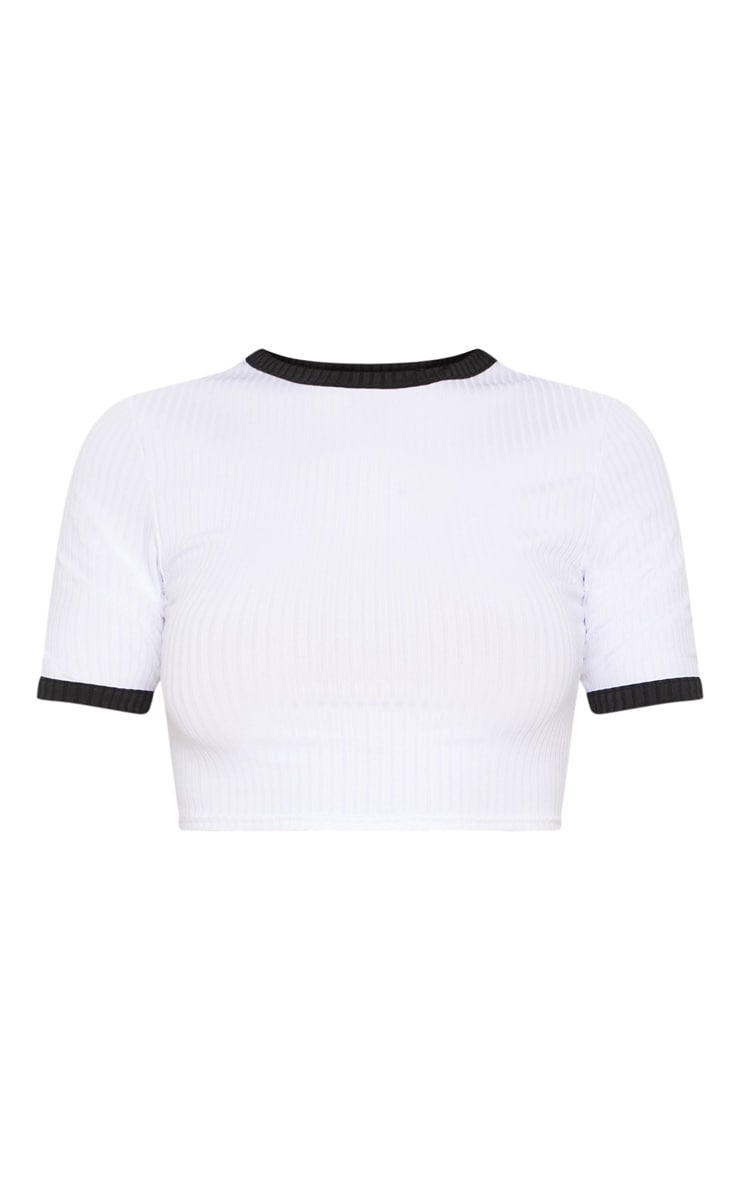 White Rib Contrast Detail Crop Top 3
