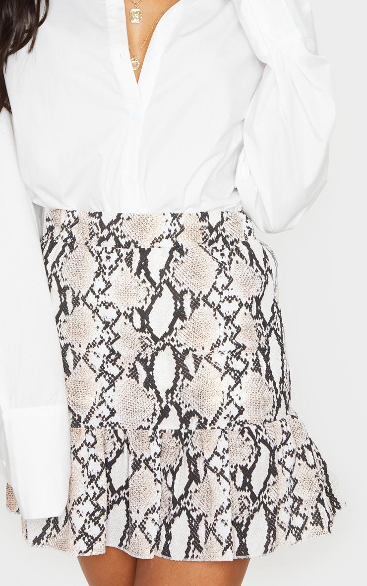 Grey Snake Print Frill Hem Skirt 5