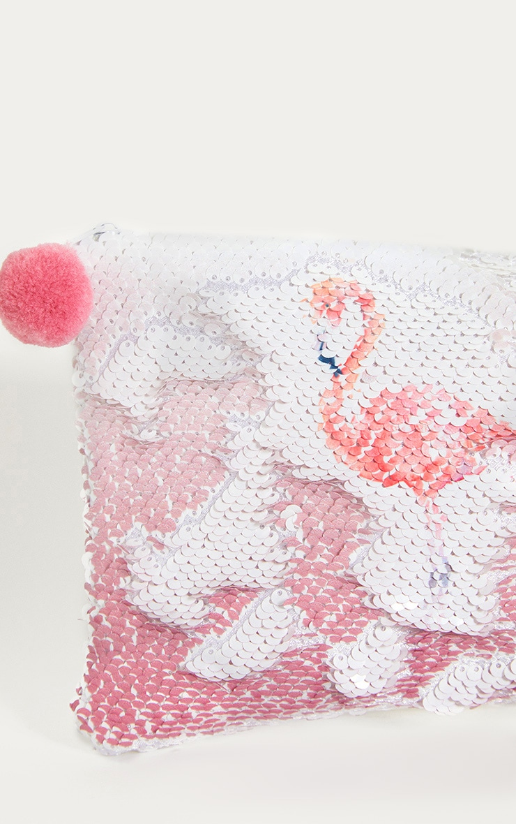 White Sequin Flamingo Make Up Bag 5