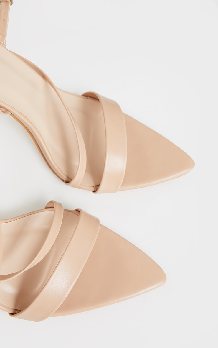 Nude Wide Fit Asymmetric Strap Point Toe Heeled Sandal 4