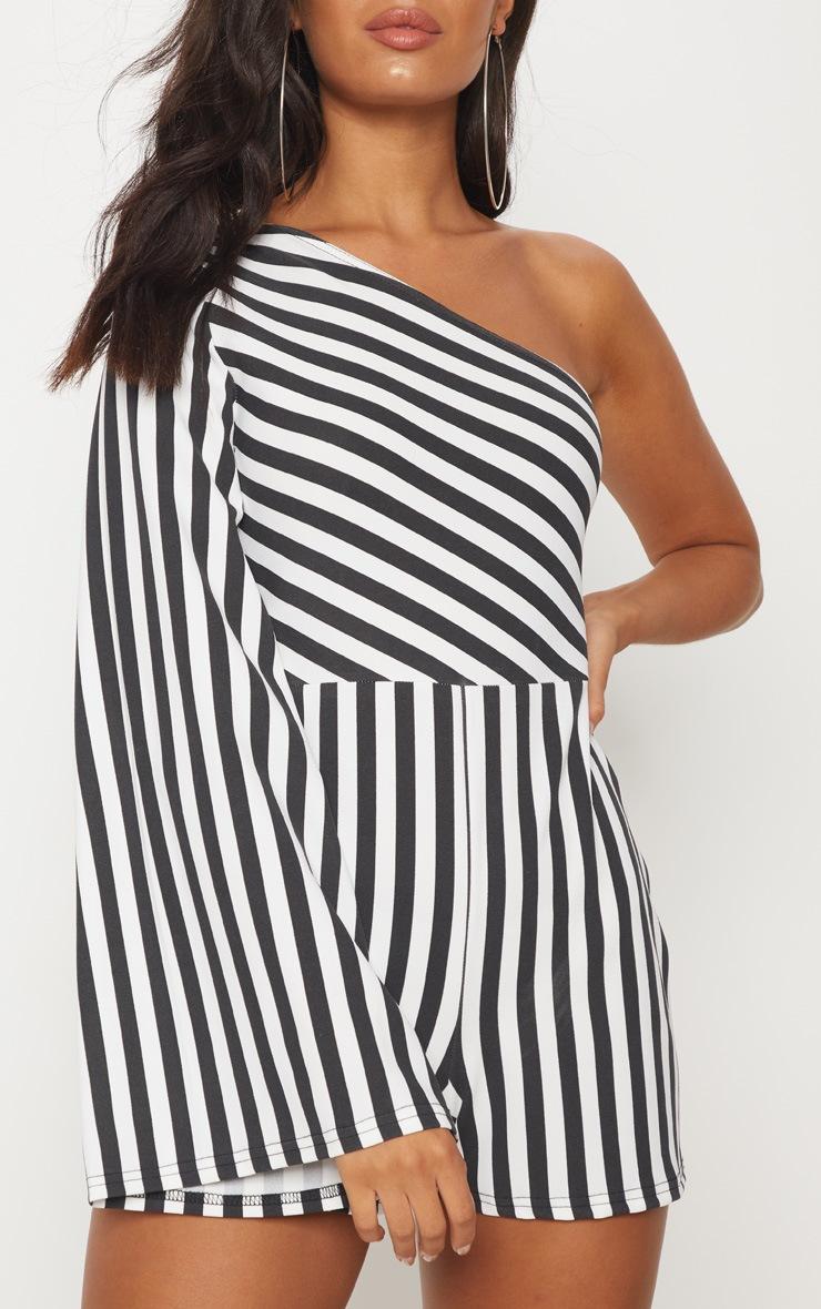 Monochrome Stripe One Shoulder Playsuit 5