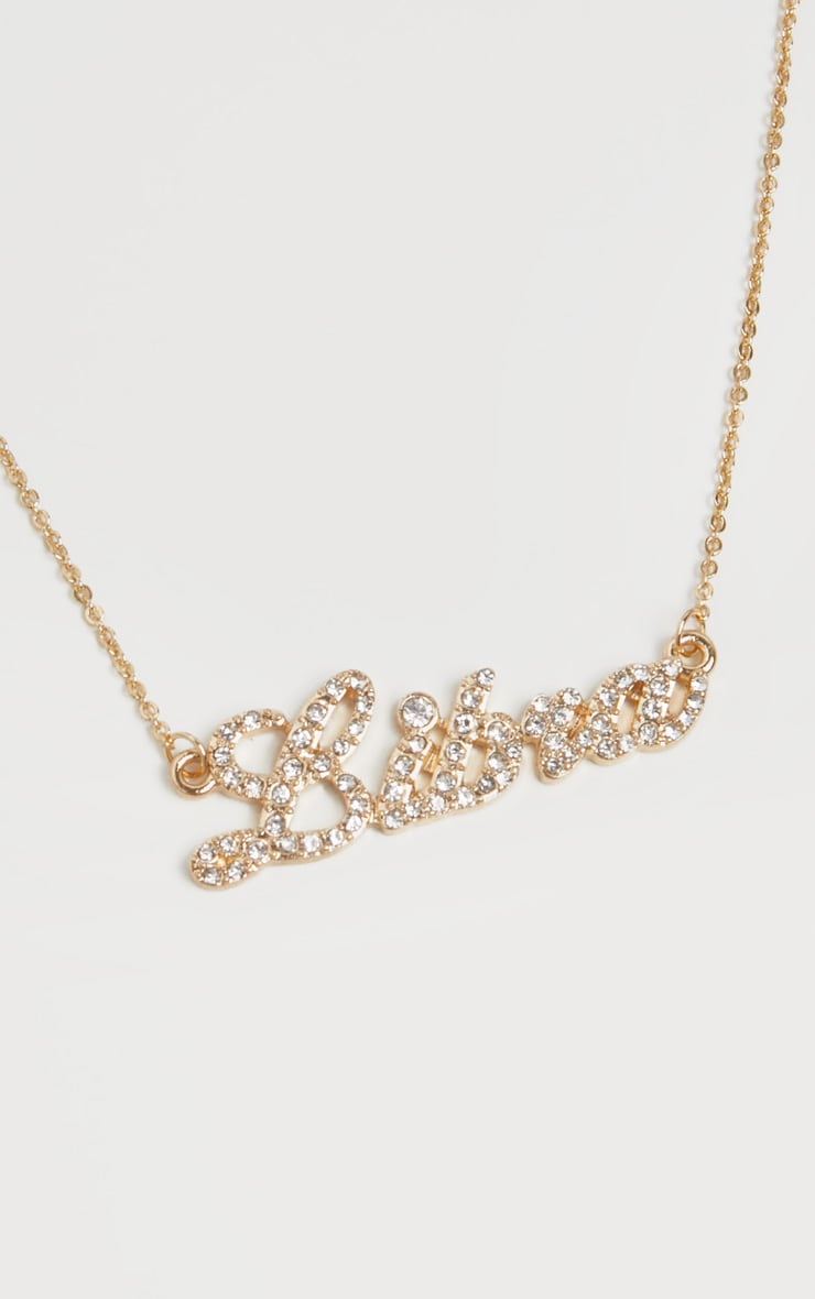 Gold Diamante  Libra Star Sign Necklace 3