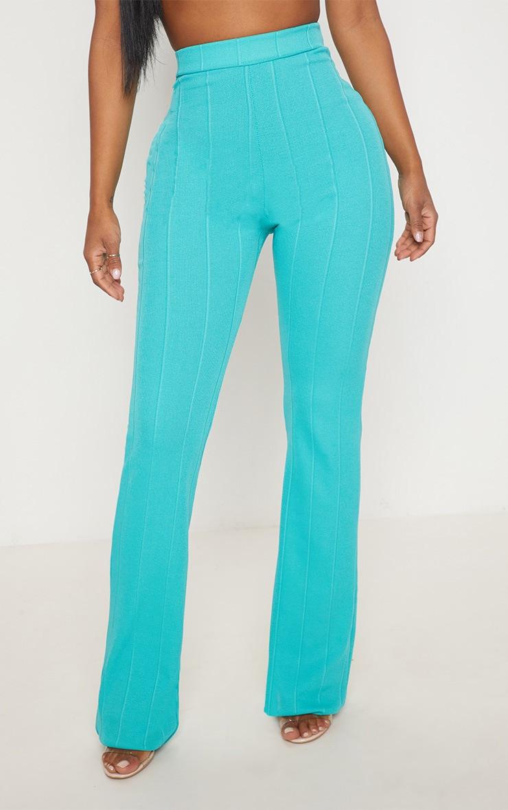 Shape Turquoise Bandage Wide Leg Trousers 2