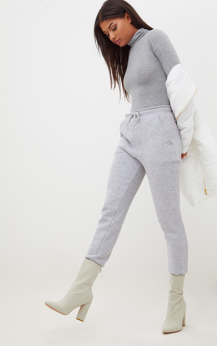 Basic Grey Roll Neck Long Sleeve Bodysuit 5