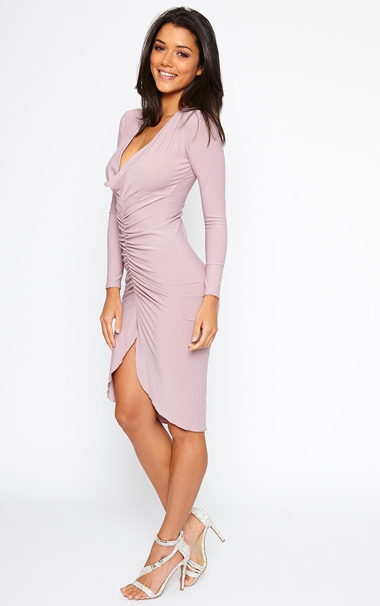 Zoey Mauve Ruched Midi Dress 4